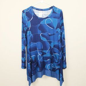 LOGO Lori Goldstein Tunic Blouse Top Blue Medium M